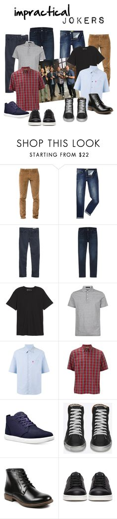 """impractical jokers"" by daniellededwards ❤ liked on Polyvore featuring Berwich, Versace, rag & bone, Citizens of Humanity, Public Opinion, Corneliani, AMI, Royal Robbins, Timberland and Yves Saint Laurent"
