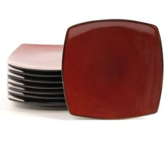 """Gibson Home Soho Lounge 7.5"""" Square Dessert Plates, Red, Set of 8 - To match with the set."""