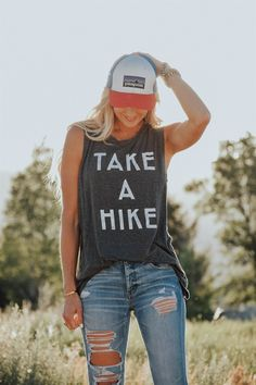 """Take a hike this summer in our latest """"Take A Hike"""" muscle tank. Perfect for those long hot summer hikes! Cute Hiking Outfit, Trekking Outfit, Summer Camping Outfits, Summer Outfits, Casual Skirt Outfits, Sport Outfits, Cute Outfits, Camping Outfits For Women, Womens Hiking Outfits"""