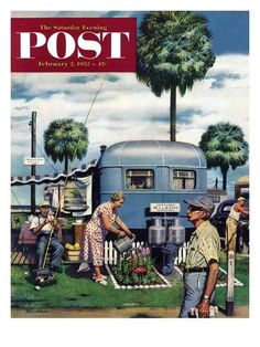"""""""Trailer Park Garden"""" Saturday Evening Post Cover, February 2, 1952 Giclee Print by Stevan Dohanos at AllPosters.com"""