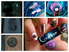 Coraline inspired nails...button...mirror...cat...hair clip...tunnel