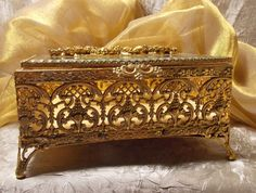 Vintage Gold Ornate Jewelry Box by TheEclecticDiva on Etsy,