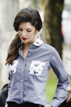 Camisa Social Feminina Jeans com Bolsos Estampados Ref.: 60.109-00 - Chemizz Camisaria Feminina