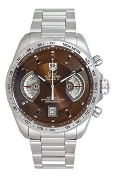 TAG Heuer Men's CAV511E.BA0902 Grand Carrera Automatic Chronograph Brown Dial Watch TAG Heuer. $4998.99. Water-resistant to 330 feet (100 m).. Stainless steel bracelet. Case diameter: 43 mm. Stainless steel round case. Brown dial