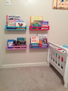 Fun kids bookshelves! IKEA spice racks painted to match the room!