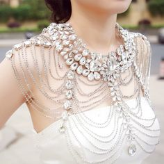 Vintage Luxury wedding jewelry - long crystal necklace chain - bridal shoulder strap - body chain - jewelry accessories - costume / cosplay accessory piece