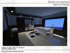 Propuesta de espacio interior para montaje de exposición de mobiliario de baño | Interior space proposal for bathroom furniture show.