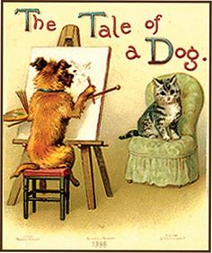 A Tale of a Dog, one of six miniature books in Doll's Library Victorian Books, Vintage Children's Books, Antique Books, Rabbit Tale, Dog Books, Vintage Illustrations, Birthday Presents, Book Covers, Childrens Books