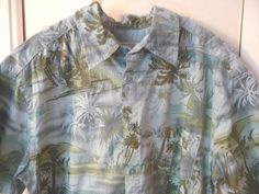 Island Shores Hawaiian Mens Shirt Palm Trees Hibiscus Medium M Aqua Blue Green #IslandShores #Hawaiian