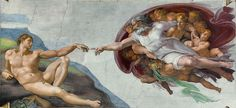 """The Creation of Adam"". ""A Criação de Adão"". - (by Michelangelo). Capela Sistina, Vaticano."
