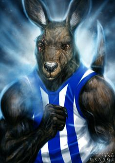'The Powerful North Melbourne Kangaroo' Print By Grange Wallis