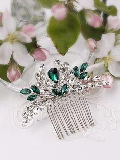 Cristal verde pelo peine pelo novia Esmeralda peine verde