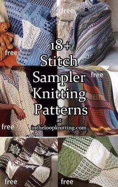 Sampler Stitch Knitting Patterns for sampler throws, afghans, shawl, vest, tunic, cowl and more