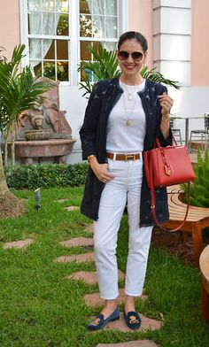 Susana Fernandez | A Key to the Armoire | white jeans | Fendi 2Jours | Stubbs & Wooton | velvet loafers | Ann Taylor | Organdi Coat | Navy blue coat | Hermes belt | jeans & t-shirt | white tee | Ralph Lauren | Worth Avenue | Palm Beach | Fendi | red sunglasses