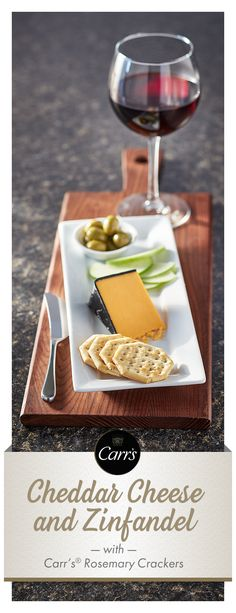 Cheddar cheese is all around favorite that goes well with Zinfandel. Match a lighter Zinfandel with mild cheddar, a bold Zinfandel with sharp cheddar and a spicy Zinfandel with smoked cheddar. Carr's® Rosemary Crackers is the perfect choice for any chedda Party Snacks, Appetizers For Party, Appetizer Recipes, Tapas, Cheese Platters, Wine Cheese, Food Photography Tips, Appetisers, Cheddar Cheese