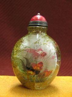 Chinese Natural Hair Crystal Inside Drawing Goldfish Pattern Snuff Bottle | eBay