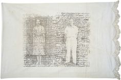 """""""My Dearest George"""" by Tyrus Clutter // Lithograph on Antique Pillowcase"""