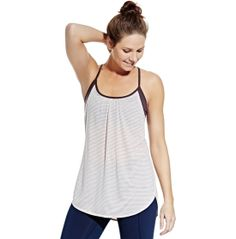 The CALIA™ by Carrie Underwood Women's Striped Double Layer Tank Top meets your demands of fitness apparel, without compromising style. This tank's double-layer design features an inner bra for support and a soft, lightweight outer layer. The longer length ensures perfect coverage. Quick-drying fabric ensures you're comfortable when you kick up the intensity of your workout. Adjustable cross back straps allow you to tailor your fit.