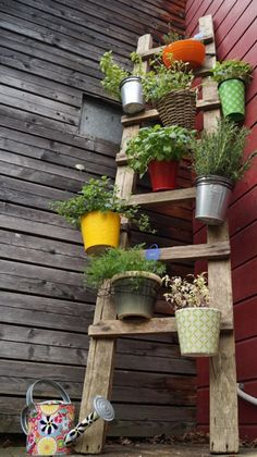 If you love growing plants and unconventional solutions in their arrangement, this idea can be very useful for you. A balcony, patio or terrace or a wide open room: You can make use of this DIY ladder shelf planter anywhere. Garden Art, Garden Design, Diy Garden, Garden Boxes, Home And Garden, Garden Ladder, Deco Floral, Small Gardens, Growing Plants