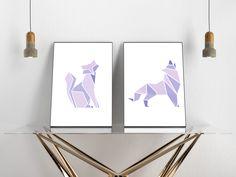 Animal Posters, Handmade Items, Handmade Gifts, Geometric Designs, Printing Services, Marketing And Advertising, Printable Art, Wolf, Minimal