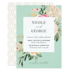 Shop Soft Peony Gold Geometric Aqua Watercolor wedding Invitation created by Citronellawedding. Blue Wedding Decorations, Aqua Wedding, Geometric Wedding, Botanical Wedding, Watercolor Wedding Invitations, Floral Watercolor, Watercolor Leaves, Zazzle Invitations, Peonies