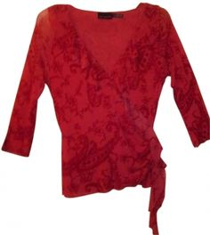 The Limited Salmon/dark Pink Ruffle Sheer Casual Fitted Evening Top $36