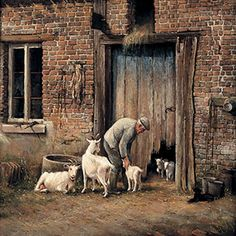 Engelen Oil Painting Pictures, Pictures To Paint, Farm Paintings, Farm Art, Medieval Life, Figure Painting, Country Life, Landscape Art, Farm Animals