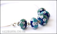 Lampwork glass necklace - Turquoise and dark blue by AntonijaGospic on Etsy