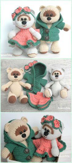 Amigurumi medu medvedík v láske zadarmo vzor - Amigurumi háčkovanie medvedík hračky zadarmo vzory