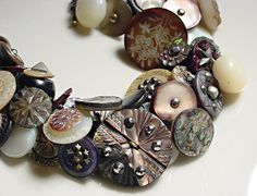 Vintage Button Bracelet Victorian Abalone and by 2Good2BeThrough, $159.00