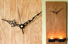 Clock Oak Wood Modern Wall with candle holders by ArtGlamourSligo, €66.00