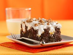 """Chocolate Toffee Cake named """"Better-Than-Almost-Anything Cake"""" by Betty Crocker. The combination of rich ingredients produces a decadent, caramel-soaked cake that's sure to be a hit! Poke Cakes, Cupcake Cakes, Fruit Cakes, Cakepops, Cake Mix Recipes, Dessert Recipes, Dessert Ideas, Frosting Recipes, Cupcake Recipes"""