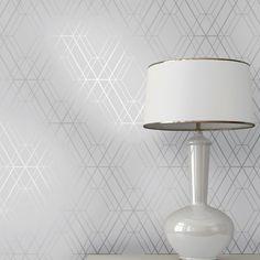 Grey wall Geometric - Metro Diamond Geometric Wallpaper Grey and Silver Geometric Wallpaper Room, Wallpaper Room Decor, Honeycomb Wallpaper, Hall Wallpaper, Geometric Decor, Silver Wallpaper Powder Room, Silver Wallpaper Feature Wall, Bathroom Colors, Colorful Interiors