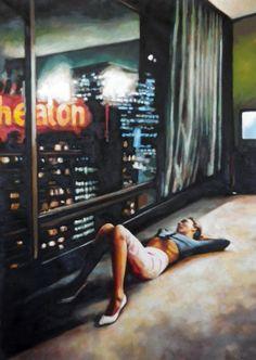 "Thomas saliot; Oil, Painting ""Hotel Hopper"""