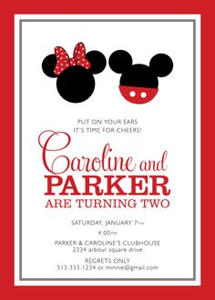 twin mickey minnie mouse birthday party by scallopedacorn on Etsy, $15.00