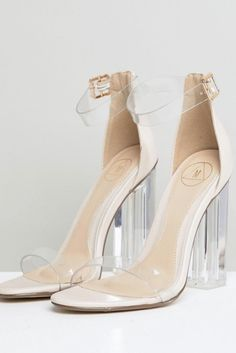 Shop Missguided Clear Block Heeled Sandal at ASOS. Fancy Shoes, Pretty Shoes, Beautiful Shoes, Me Too Shoes, Clear Block Heels, Transparent Heels, High Heels, Shoes Heels, Stockings Heels