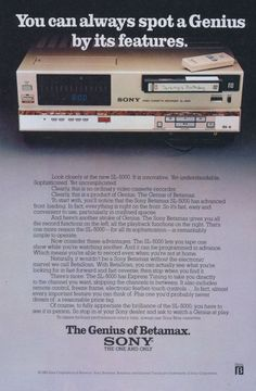 """""""You can always spot a Genius by its features. The Genius of Betamax"""" - Sony Betamax ad : vintageads Vintage Videos, Retro Videos, Vintage Tv, Tv Videos, Retro Advertising, Vintage Advertisements, Retro Ads, Retro Humor, Sony Electronics"""