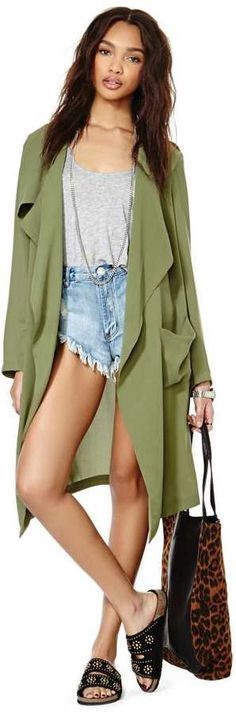 Nasty Gal Rain or Shine Draped Jacket - Olive on shopstyle.com