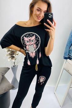 Tepláková súprava čierna s motivom sovy Moda Xl, Modeling, Plus Size, Crop Tops, Pants, Women, Fashion, Tunic, Trouser Pants