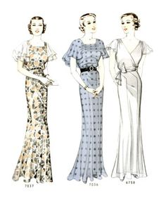 1930s short sleeve, ankle length cocktail dresses