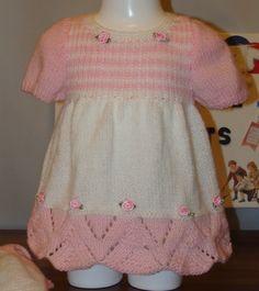 ROBE en laine rose et blanc tricoté main taille 3/6 mois : Mode Bébé par danielainetricots