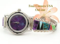 Four Corners USA Online - Women's Multi Color Inlay Sterling Watch Shown with Mohave Purple Turquoise Face Navajo Arnold Yazzie Native American Jewelry NAW-1428, $160.00 (http://stores.fourcornersusaonline.com/womens-multi-color-inlay-sterling-watch-shown-with-mohave-purple-turquoise-face-navajo-arnold-yazzie-native-american-jewelry-naw-1428/)