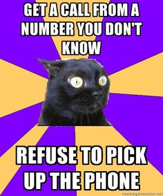 anxiety cat   ---Get a call from a number I do know and I still refuse to pick up the phone haha ~@glamour_scars