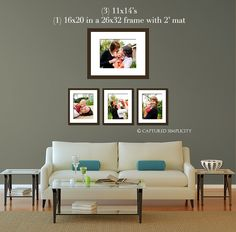 11x14s and a framed 16x20 over couch sofa wall displays for photographs