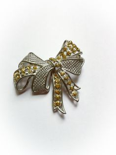 Vintage Bow Brooch with Yellow Glitter Dots