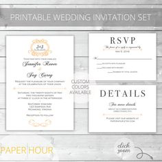 Peach/Gray Printable Wedding Invitation Set | Classic | Jennifer Collection | RSVP & Details/Enclosure Card | Custom Colors Available