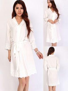 Set of 3 bridesmaid gifts kimono robes-Lace B http://www.softamor.com