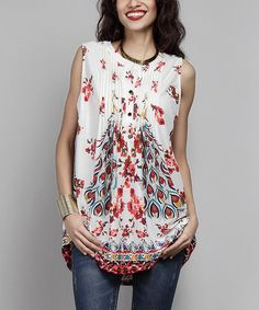 Another great find on #zulily! White Peacock Sleeveless Notch Neck Pin Tuck Tunic #zulilyfinds