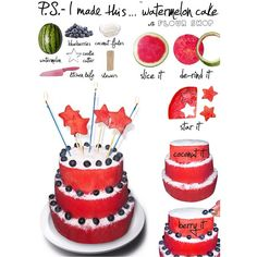 Happy Birthday America @p.S.- I made this... #diy #watermelon #cake #stars #flourshop