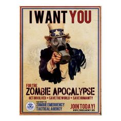 Shop I Want You - Zombie Apocalypse Poster created by ZombieETA. Personalize it with photos & text or purchase as is! Zombie Apocalypse Party, Zombie Apocolypse, Walking Dead Funny, The Walking Dead, Illustrations, Illustration Art, Zombie Illustration, Zombies, Arte Zombie